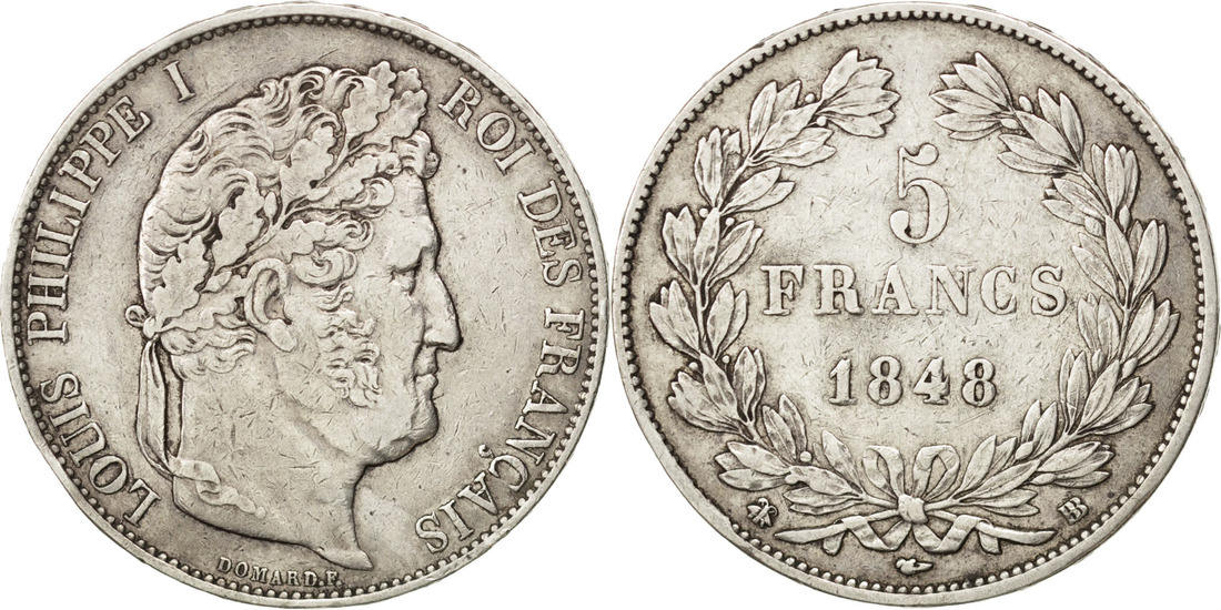 5 Francs 1848 BB Frankreich Louis-Philippe EF(40-45)