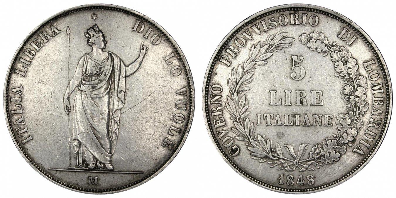 5 Lire 1848 M Italien Staaten EF(40-45)