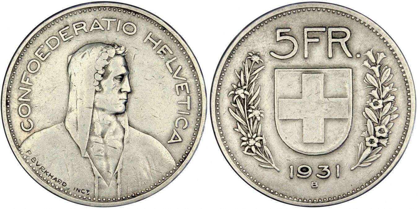 5 Francs 1931 B Schweiz EF(40-45)