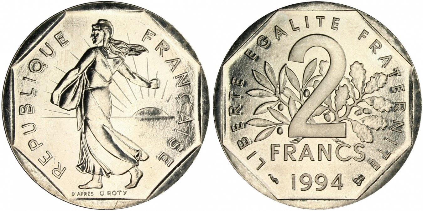 2 Francs 1994 Frankreich Semeuse MS(65-70)