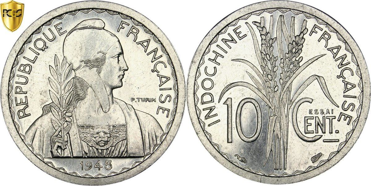 10 Cents 1945 (a) FRENCH INDO-CHINA MS(64)