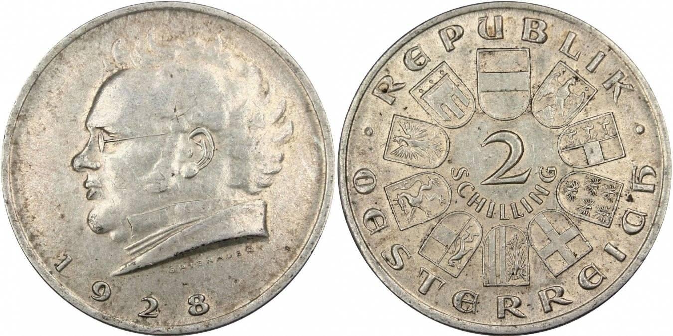2 Schilling 1928 Vienne Österreich Centennial - Death of Franz Schubert AU(55-58)