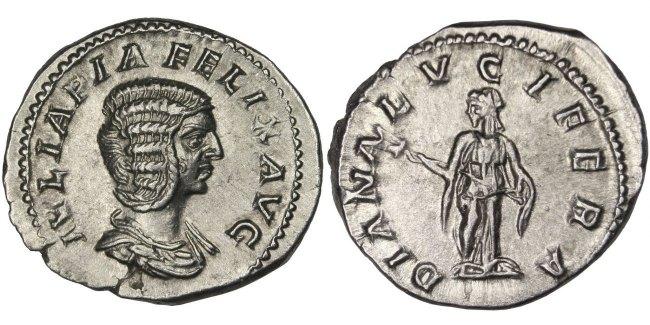 Denarius Roma Julia AU(55-58)