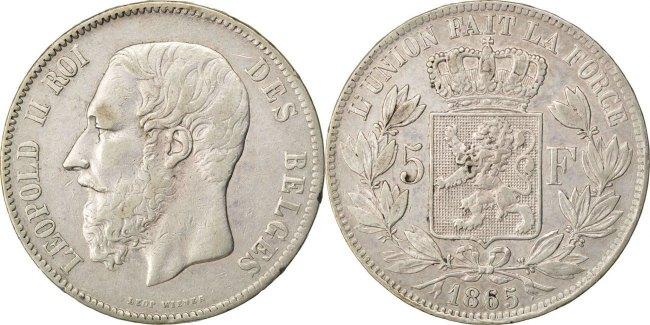 5 Francs, 5 Frank 1865 Belgien Leopold II AU(50-53)