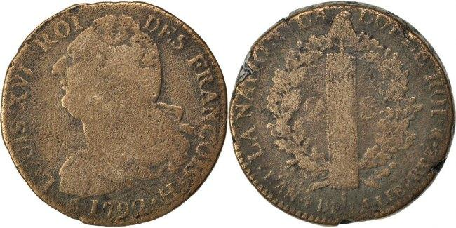 2 Sols 1792 H Frankreich 2 sols françois VF(20-25)