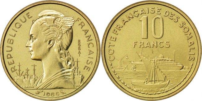 10 Francs 1965 (a) Französisch-Somaliland MS(63)