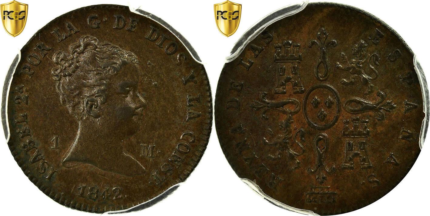 Maravedi 1842 Segovia Spanien Isabel II AU(55-58)