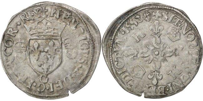 Douzain 1552 Poitiers Frankreich 1547-1559 Henri II AU(50-53)