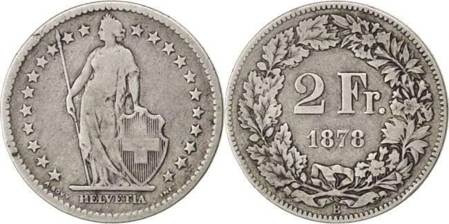 2 Francs 1878 B Schweiz VF(30-35)