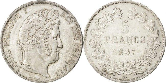 5 Francs 1847 BB Frankreich Louis-Philippe AU(55-58)