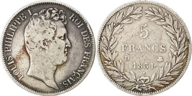 5 Francs 1831 D Frankreich Louis-Philippe VF(20-25)