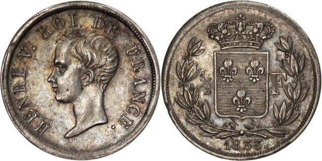 1/2 Franc 1833 Frankreich Henri V AU(55-58)