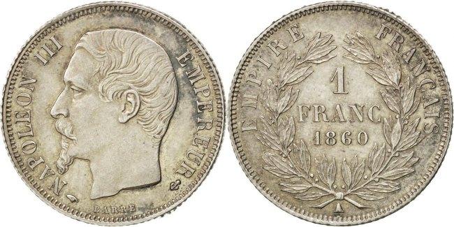 Franc 1860 A Frankreich Napoléon III Napoleon III AU(55-58)