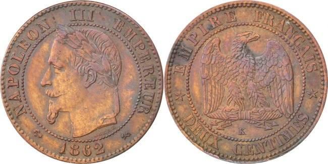 2 Centimes 1862 K Frankreich Napoléon III Napoleon III AU(50-53)