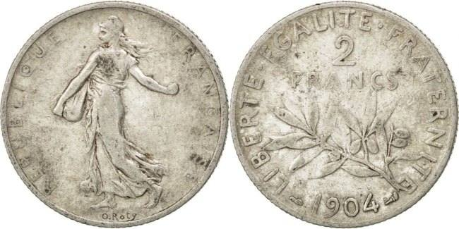 2 Francs 1904 Frankreich Semeuse VF(30-35)