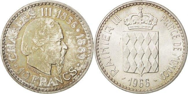 10 Francs 1966 Monaco 100th Anniversary - Accession of Charles III Rainier III AU(55-58)