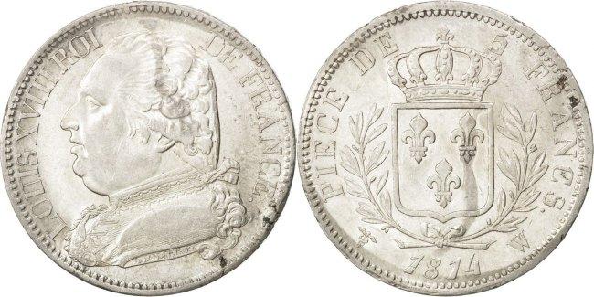 5 Francs 1814 Lille Frankreich Louis XVIII Louis XVIII AU(50-53)