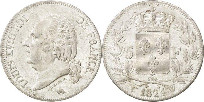 5 Francs 1824 W Frankreich Louis XVIII Louis XVIII AU(55-58)