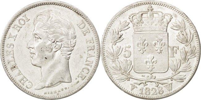 5 Francs 1828 W Frankreich Charles X AU(50-53)