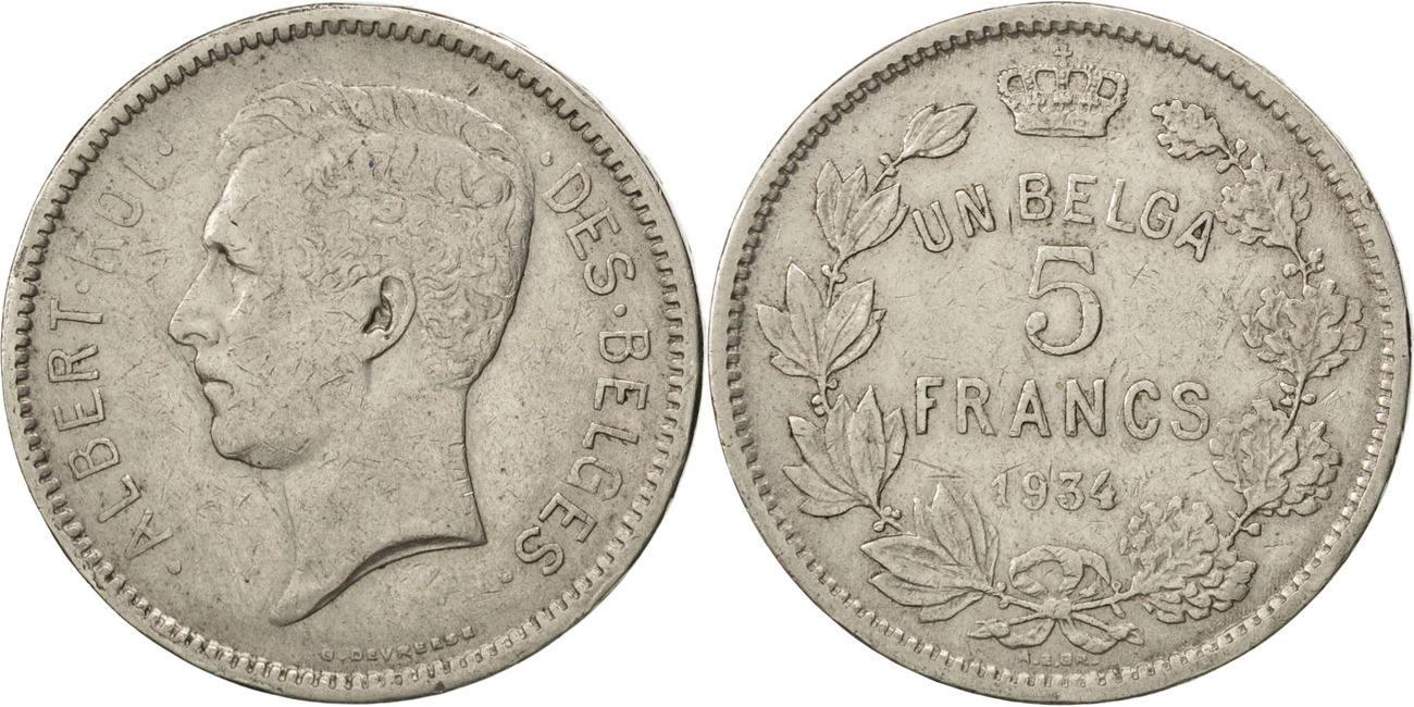 5 Francs, 5 Frank 1934 Belgien EF(40-45)