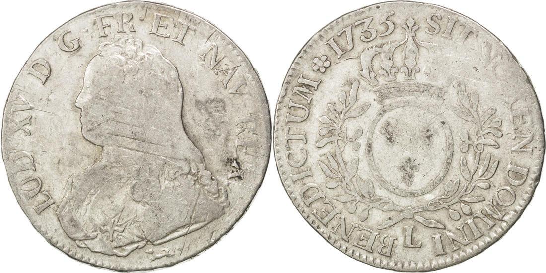 Ecu 1735 L Frankreich Écu aux branches d'olivier Louis XV 1715-1774 Louis XV le Bien-Aimé VF(20-25)