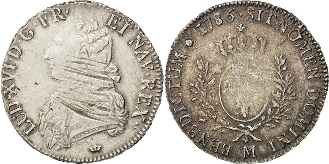 Ecu 1786 M Frankreich Écu aux branches d'olivier Louis XVI 1774-1791 Louis XVI VF(30-35)