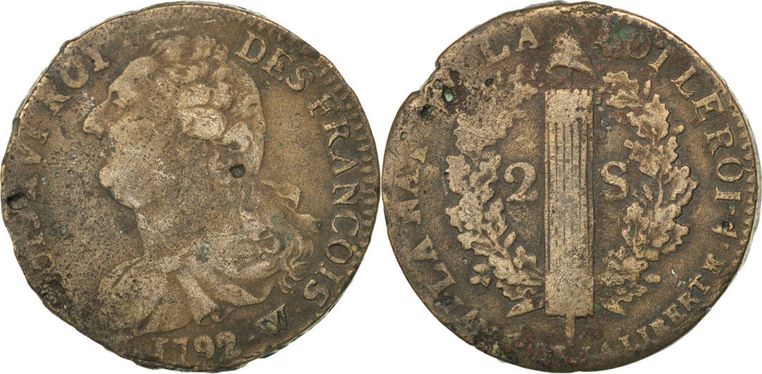 2 Sols 1792 W Frankreich 2 sols françois VF(30-35)