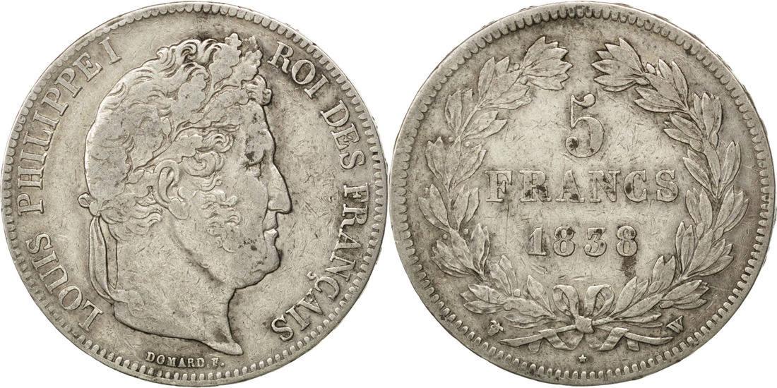 5 Francs 1838 W Frankreich Louis-Philippe EF(40-45)