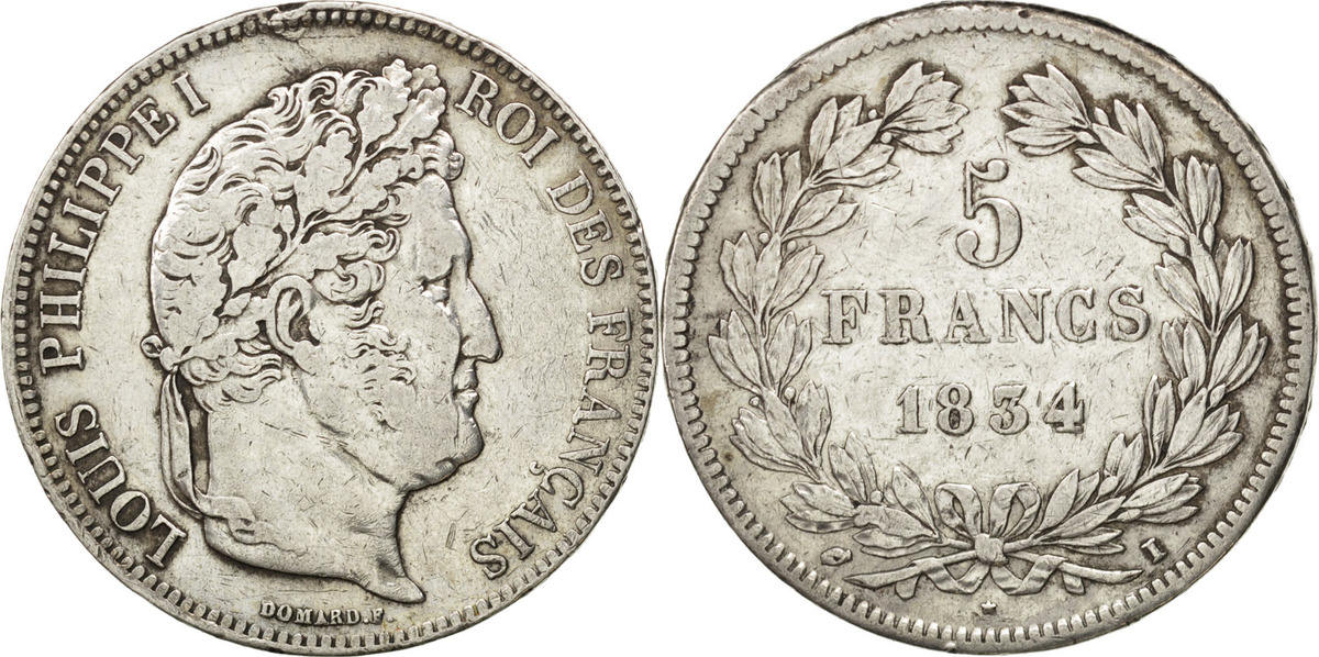 5 Francs 1834 I Frankreich Louis-Philippe VF(30-35)