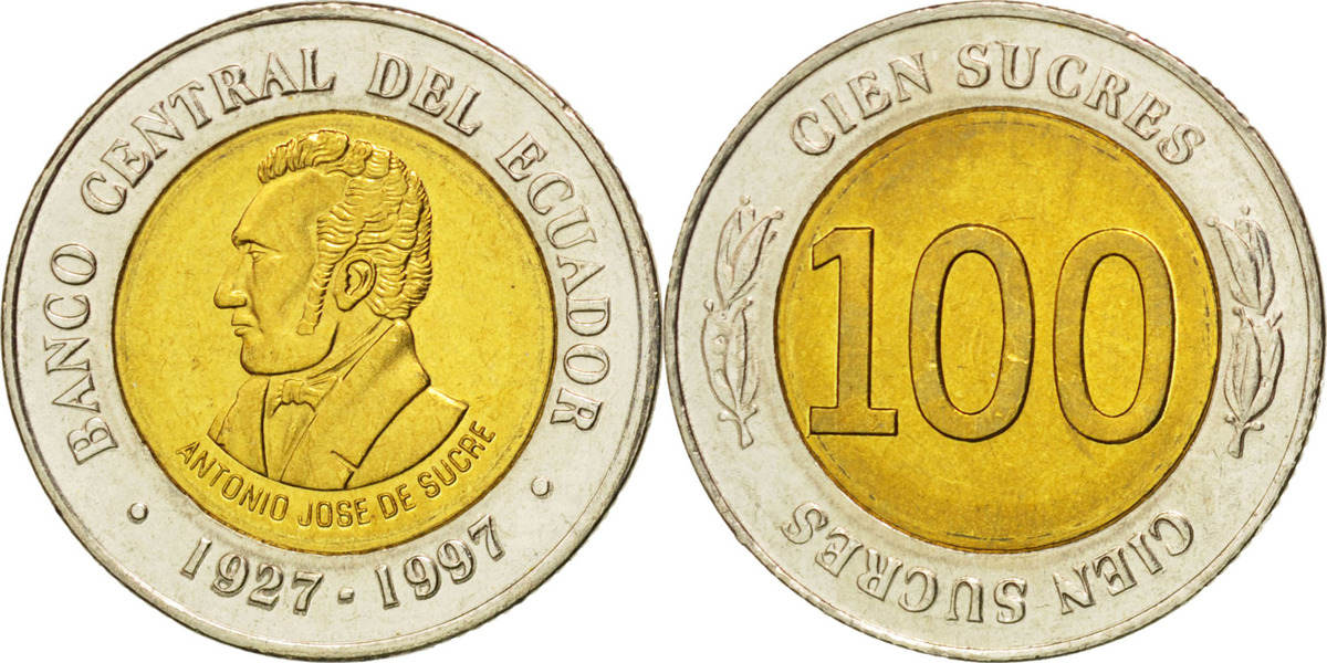100 Sucres 1997 Ecuador 70th Anniversary - Central Bank MS(63)