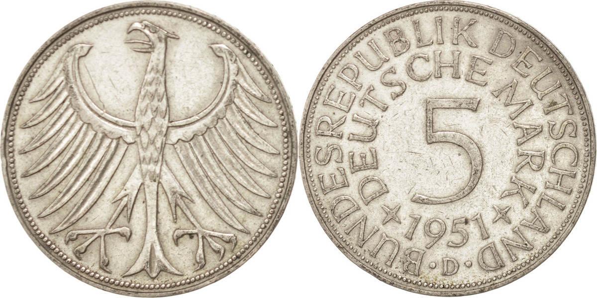 5 Mark 1951 D Bundesrepublik Deutschland AU(50-53)