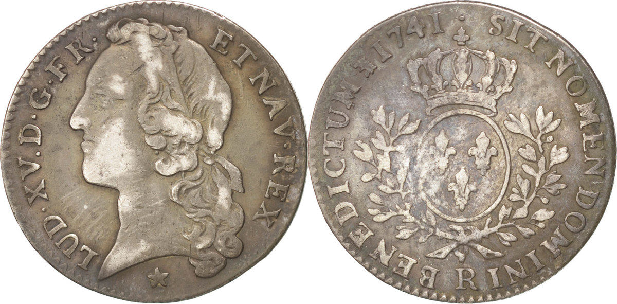 24 Sols, 1/5 ECU 1741 R Frankreich 1/5 Écu au bandeau Louis XV 1715-1774 Louis XV le Bien-Aimé EF(40-45)