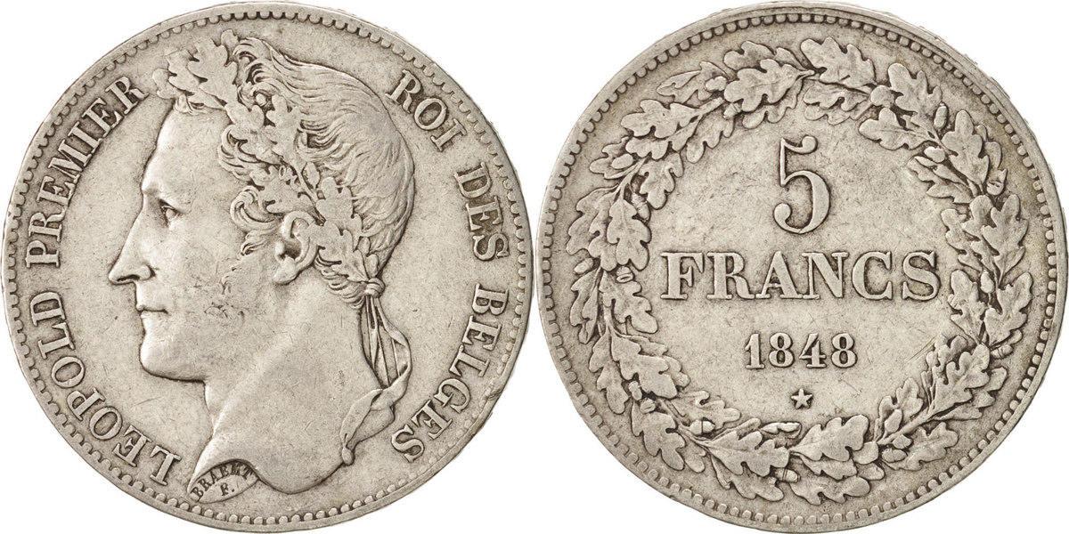 5 Francs, 5 Frank 1848 Belgien Leopold I EF(40-45)