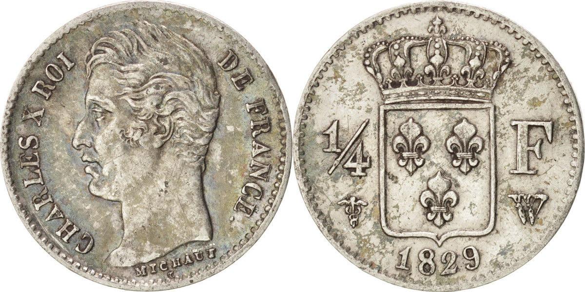 1/4 Franc 1729 W Frankreich Charles X AU(55-58)