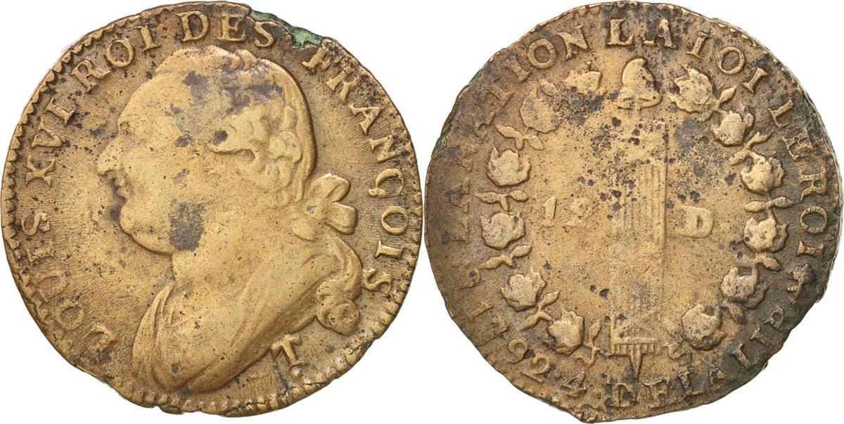 12 Deniers 1792 Saumur Frankreich VF(30-35)