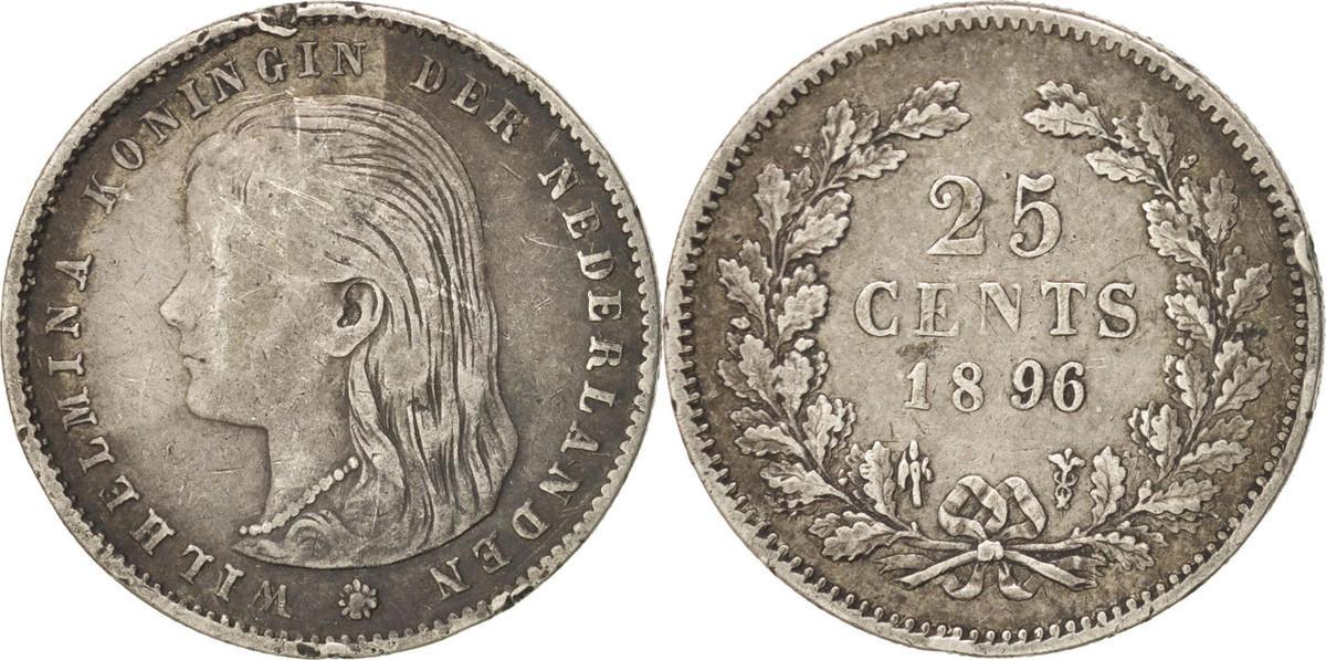 25 Cents 1896 Niederlande Wilhelmina I VF(30-35)