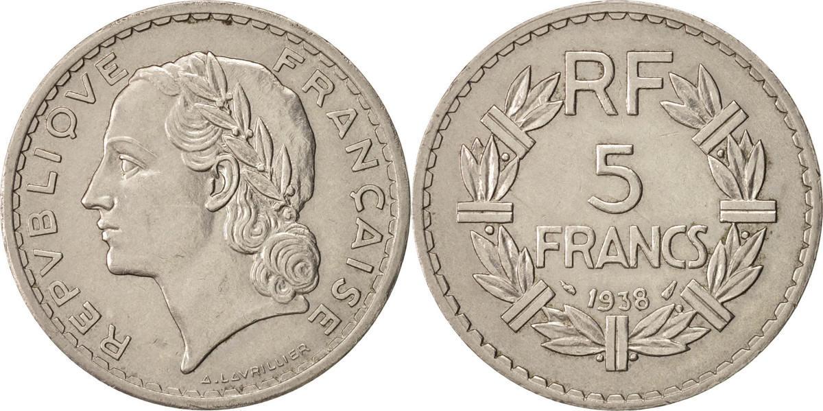 5 Francs 1938 Paris Frankreich Lavrillier AU(55-58)
