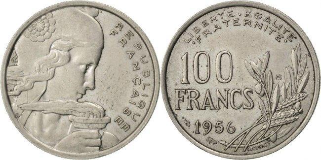 100 Francs 1956 B Frankreich Cochet EF(40-45)