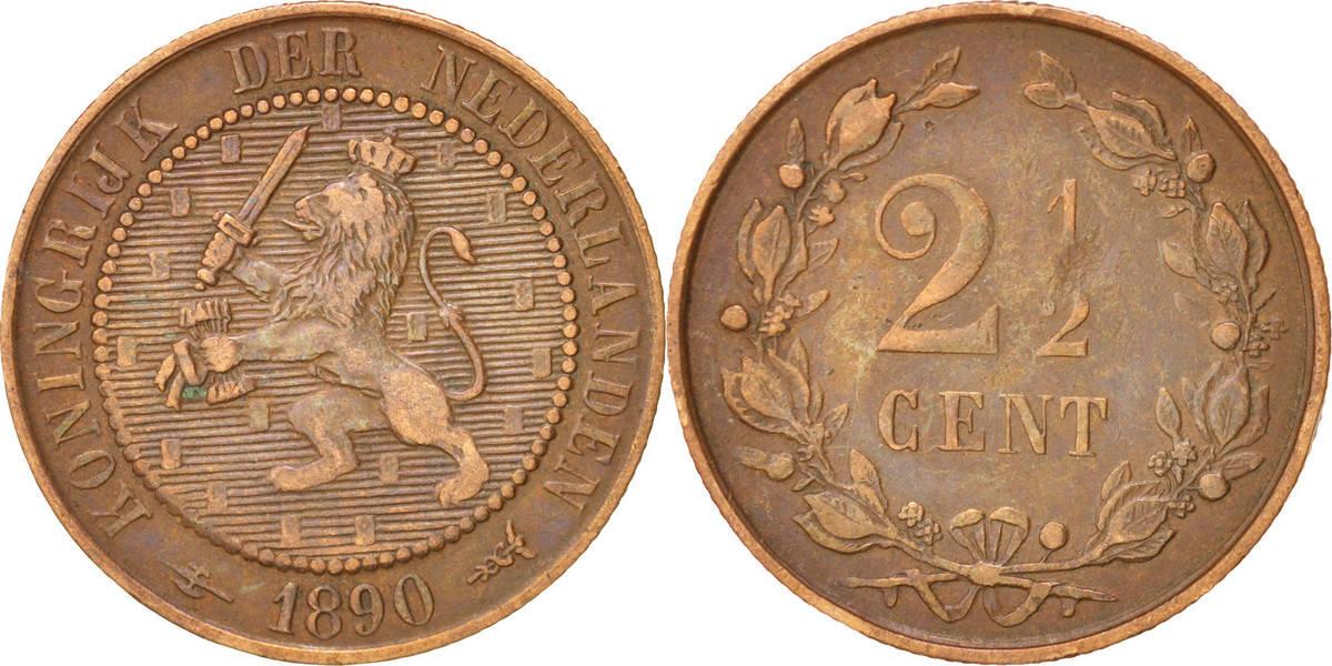 2-1/2 Cent 1890 Niederlande Wilhelmina I EF(40-45)