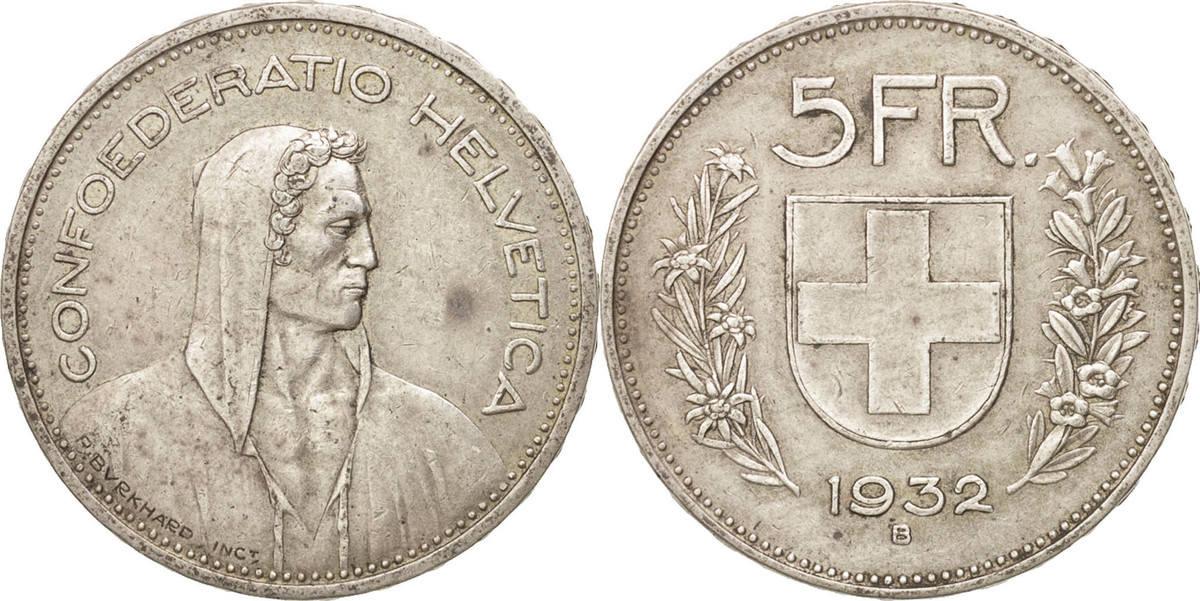 5 Francs 1932 B Schweiz EF(40-45)