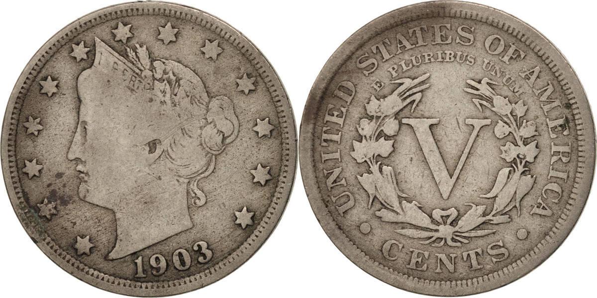 5 Cents 1903 U.S. Mint Vereinigte Staaten Liberty Nickel VF(20-25)
