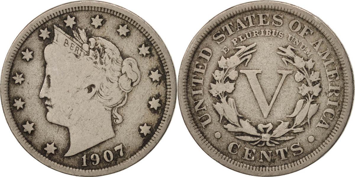 5 Cents 1907 U.S. Mint Vereinigte Staaten Liberty Nickel VF(30-35)
