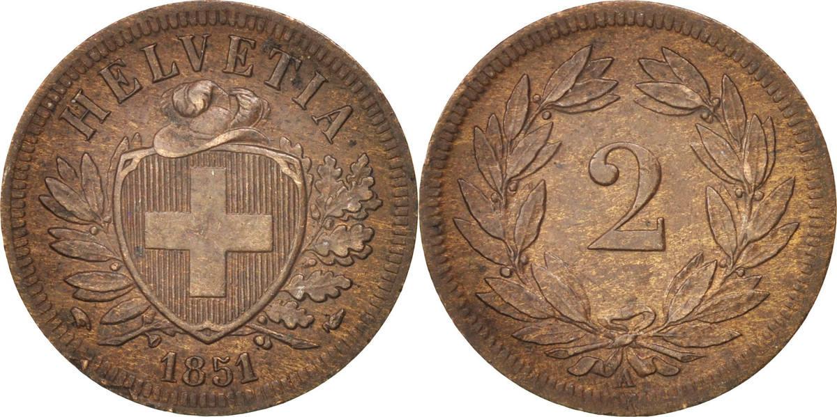2 Rappen 1851 A Schweiz MS(60-62)