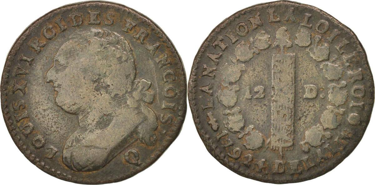 12 Deniers 1792 Q Frankreich 12 deniers françois VF(20-25)