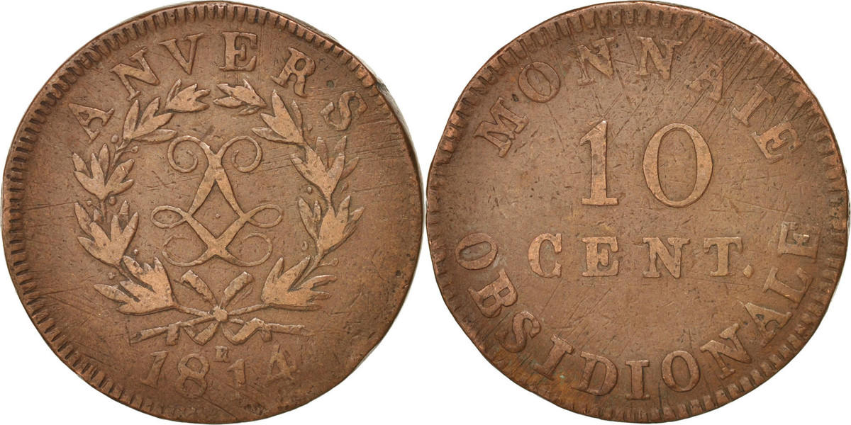 10 Centimes 1814 FRENCH STATES VF(30-35)