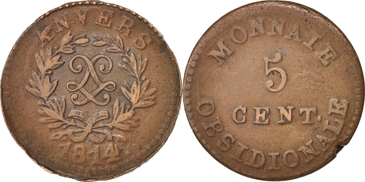 5 Centimes 1814 FRENCH STATES VF(30-35)