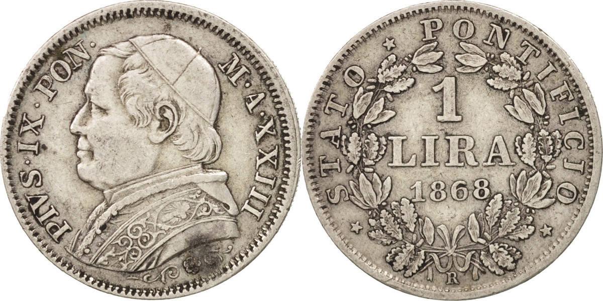 Lira 1868 R Italien Staaten Pius IX AU(50-53)