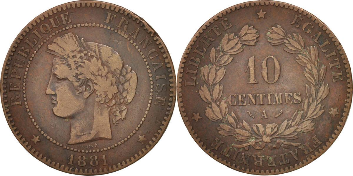 10 Centimes 1881 A Frankreich Cérès VF(30-35)