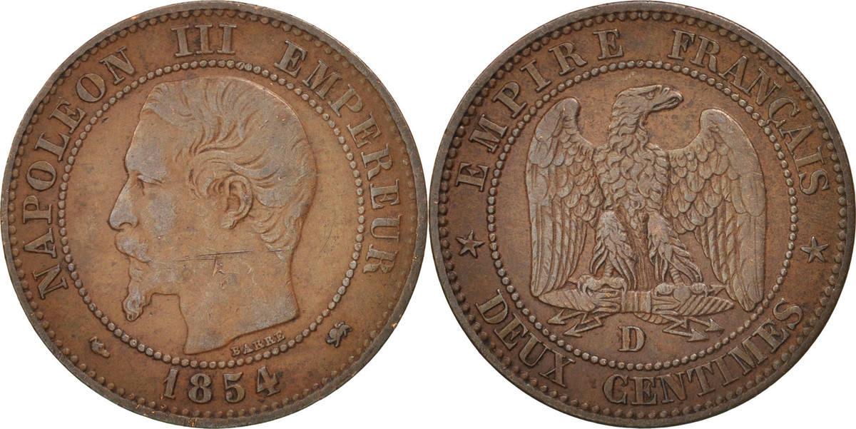 2 Centimes 1854 D Frankreich Napoléon III Napoleon III EF(40-45)