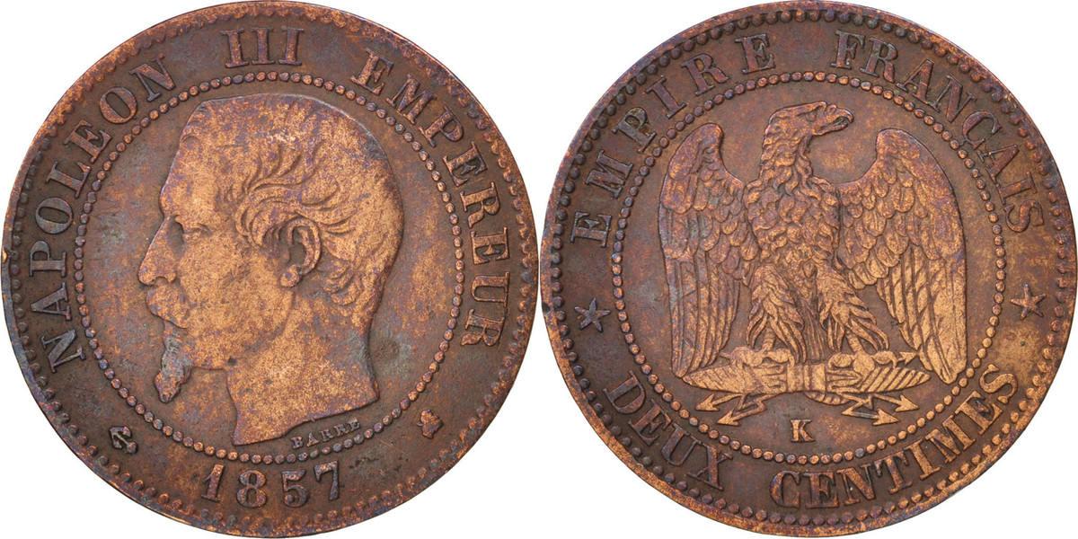 2 Centimes 1857 K Frankreich Napoléon III Napoleon III EF(40-45)
